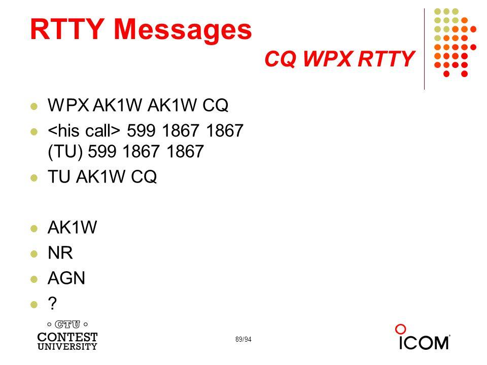 89/94 RTTY Messages CQ WPX RTTY WPX AK1W AK1W CQ 599 1867 1867 (TU) 599 1867 1867 TU AK1W CQ AK1W NR AGN ?