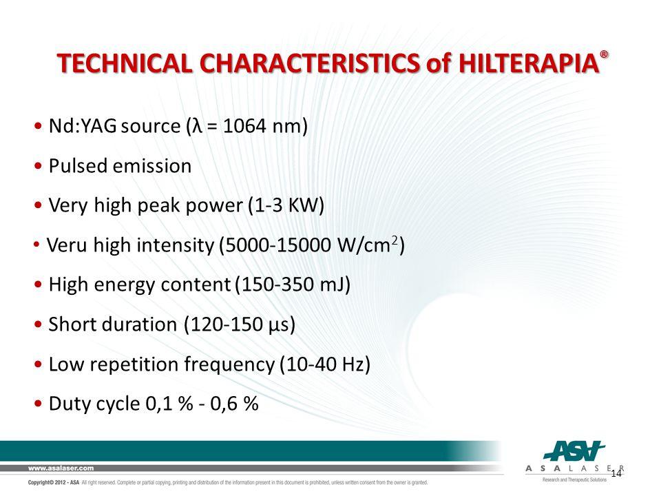 Nd:YAG source (λ = 1064 nm) Pulsed emission Very high peak power (1-3 KW) Veru high intensity (5000-15000 W/cm 2 ) High energy content (150-350 mJ) Sh