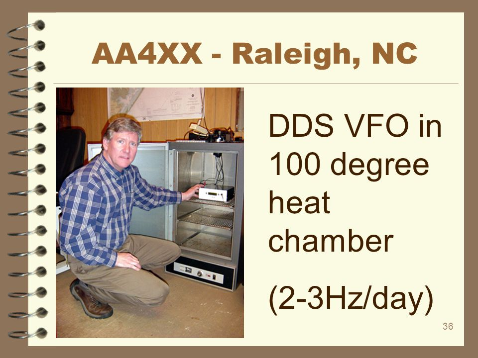 36 AA4XX - Raleigh, NC DDS VFO in 100 degree heat chamber (2-3Hz/day)