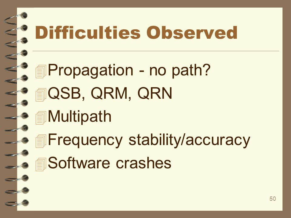 50 Difficulties Observed 4 Propagation - no path? 4 QSB, QRM, QRN 4 Multipath 4 Frequency stability/accuracy 4 Software crashes