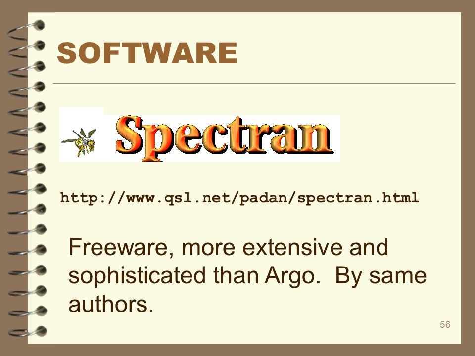 56 SOFTWARE http://www.qsl.net/padan/spectran.html Freeware, more extensive and sophisticated than Argo. By same authors.