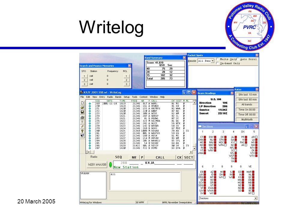 20 March 2005 Writelog