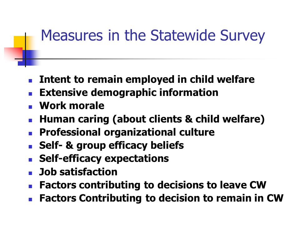 Measures in the Statewide Survey Intent to remain employed in child welfare Extensive demographic information Work morale Human caring (about clients & child welfare) Professional organizational culture Self- & group efficacy beliefs Self-efficacy expectations Job satisfaction Factors contributing to decisions to leave CW Factors Contributing to decision to remain in CW