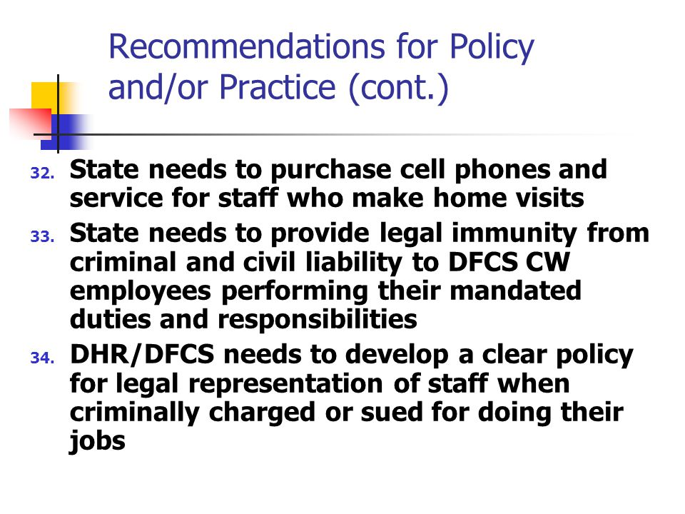 Recommendations for Policy and/or Practice (cont.) 32.