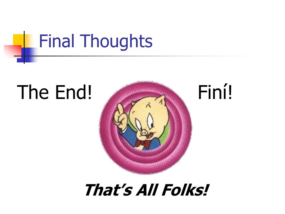 Final Thoughts The End! That's All Folks! Finí!