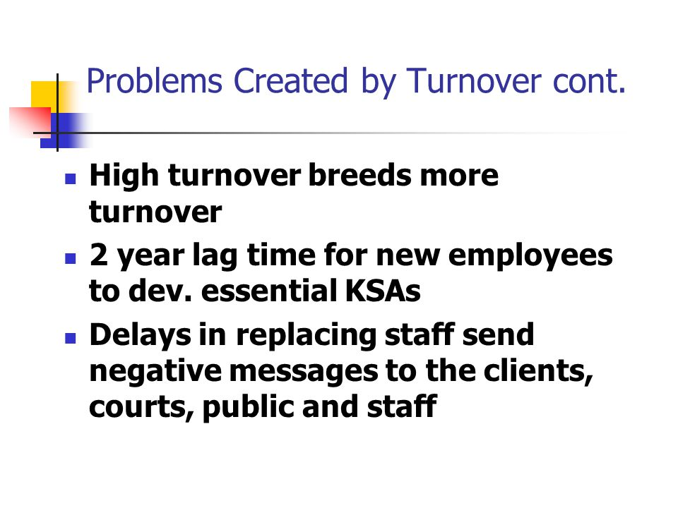 High turnover breeds more turnover 2 year lag time for new employees to dev.