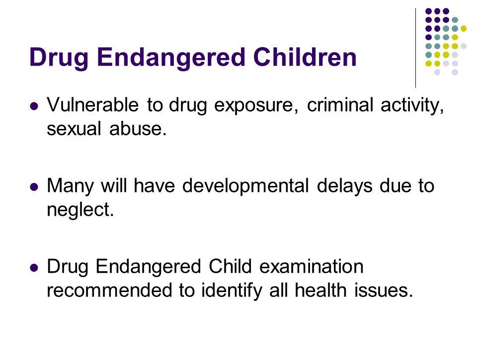 Drug Endangered Children Vulnerable to drug exposure, criminal activity, sexual abuse. Many will have developmental delays due to neglect. Drug Endang