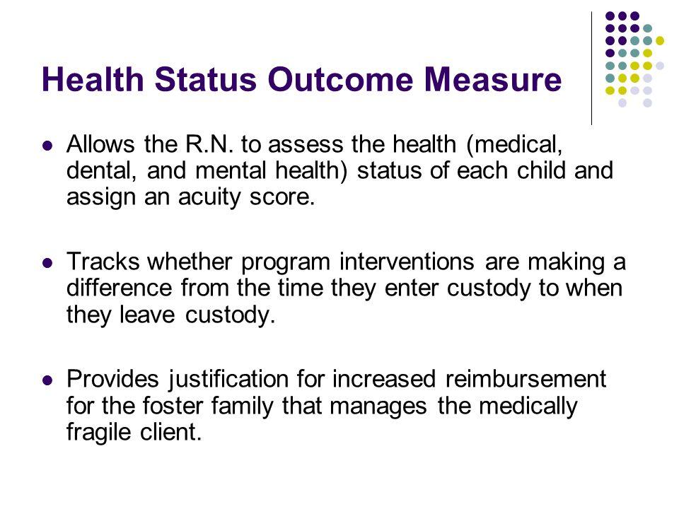 Health Status Outcome Measure Allows the R.N.