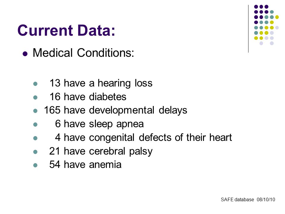 Current Data: Medical Conditions: 13 have a hearing loss 16 have diabetes 165 have developmental delays 6 have sleep apnea 4 have congenital defects of their heart 21 have cerebral palsy 54 have anemia SAFE database 08/10/10