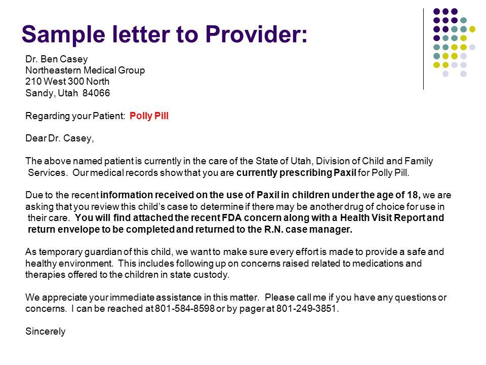Sample letter to Provider: Dr.