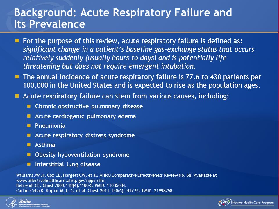 For the purpose of this review, acute respiratory failure is defined as: significant change in a patient's baseline gas-exchange status that occurs