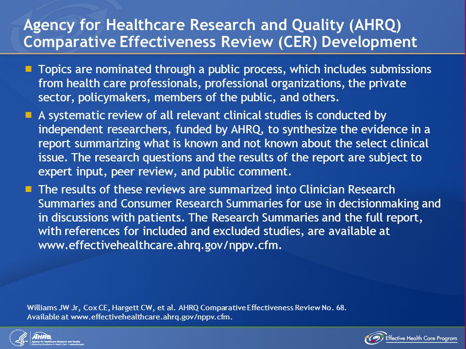  Topics are nominated through a public process, which includes submissions from health care professionals, professional organizations, the private se