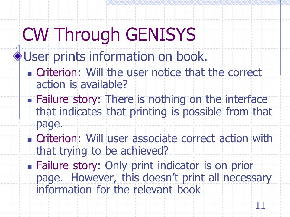 11 CW Through GENISYS User prints information on book.