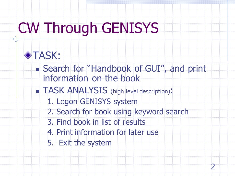 2 CW Through GENISYS TASK: Search for Handbook of GUI , and print information on the book TASK ANALYSIS (high level description) : 1.