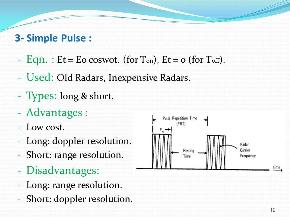 3- Simple Pulse : - Eqn.: Et = E0 cosw0t. (for T on ), Et = 0 (for T off ).