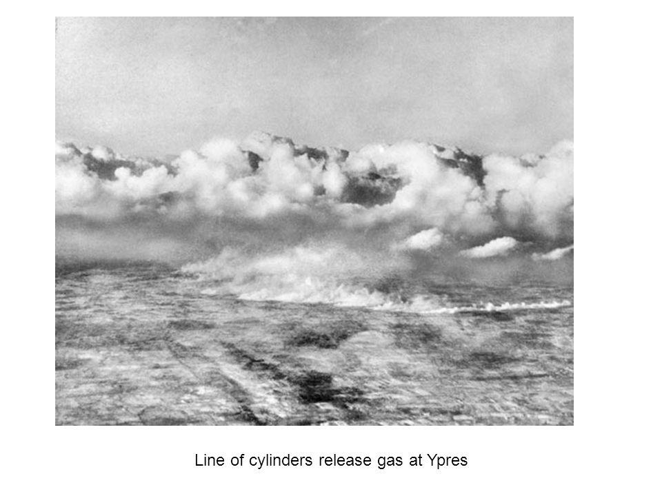 Line of cylinders release gas at Ypres