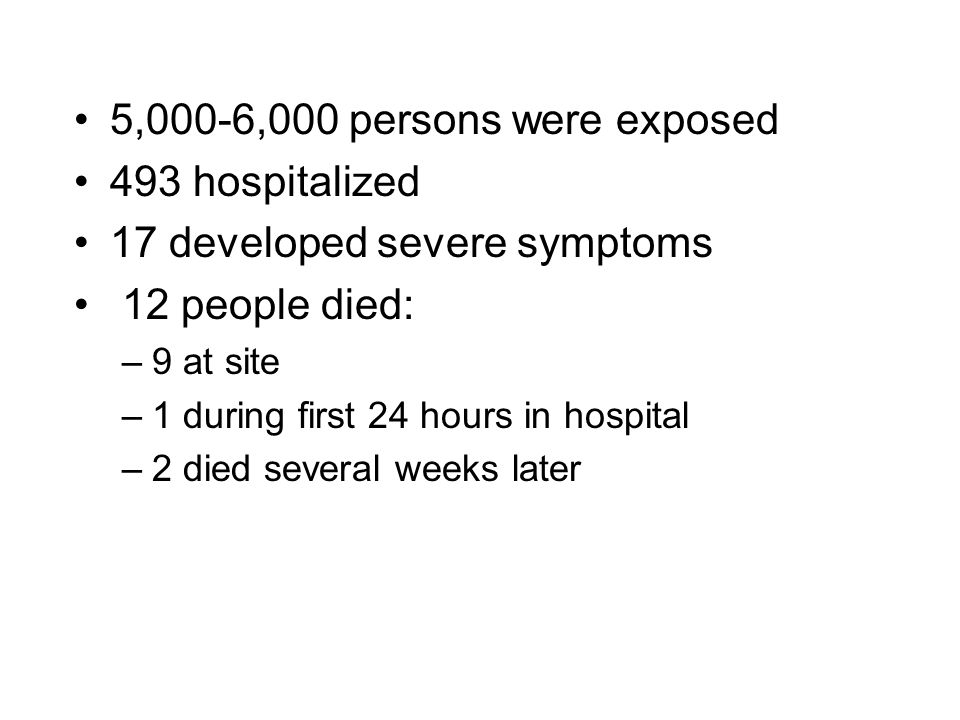5,000-6,000 persons were exposed 493 hospitalized 17 developed severe symptoms 12 people died: –9 at site –1 during first 24 hours in hospital –2 died several weeks later