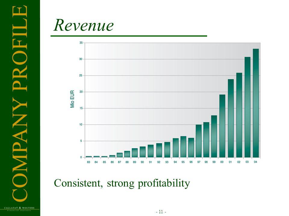 - 11 - Revenue Consistent, strong profitability COMPANY PROFILE