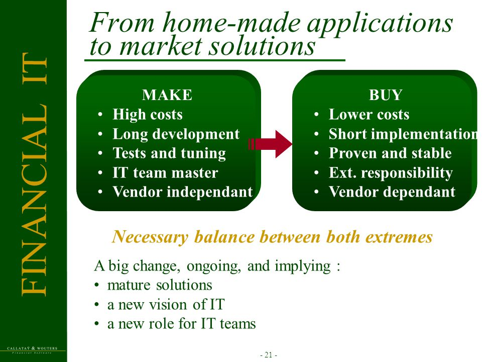 - 21 - From home-made applications to market solutions High costs Long development Tests and tuning IT team master Vendor independant MAKE Lower costs