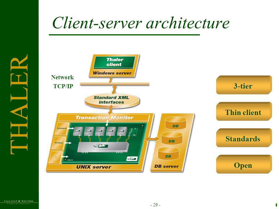 - 29 - Client-server architecture 3-tier Thin client Standards Open Network TCP/IP THALER