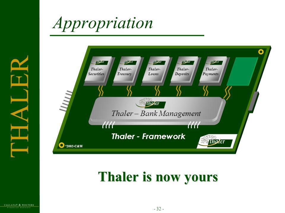 - 32 - Appropriation Thaler is now yours '2003-C&W Thaler- Treasury Thaler – Bank Management Thaler- Loans Thaler- Securities Thaler- Deposits Thaler- Payments Thaler - Framework THALER