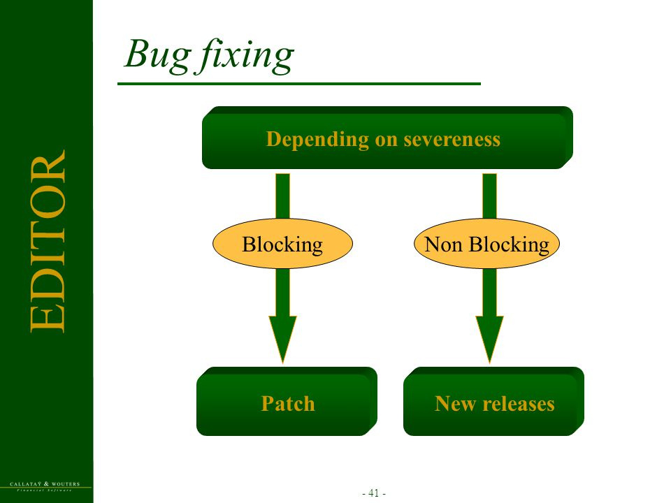 - 41 - Bug fixing Depending on severeness Patch Blocking New releases Non Blocking EDITOR