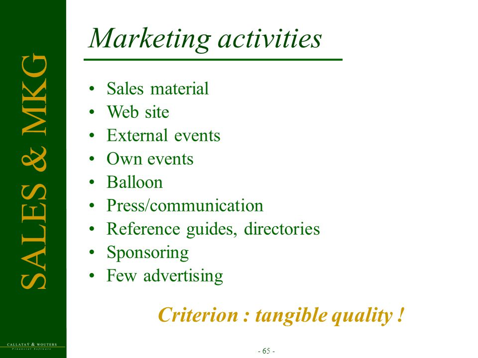 - 65 - Marketing activities Sales material Web site External events Own events Balloon Press/communication Reference guides, directories Sponsoring Fe