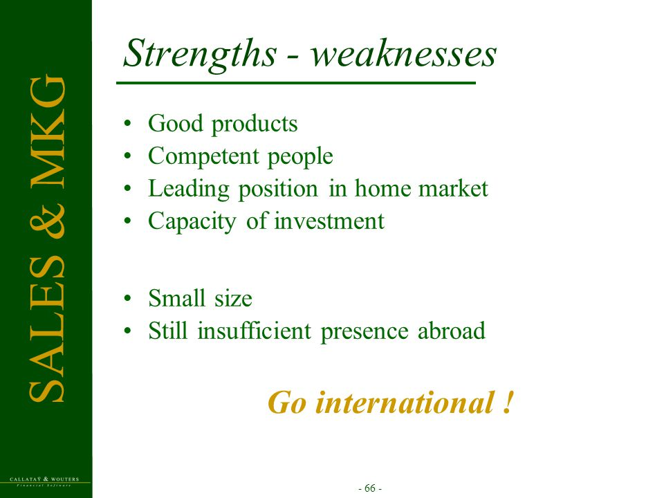 - 66 - Strengths - weaknesses Good products Competent people Leading position in home market Capacity of investment SALES & MKG Small size Still insuf