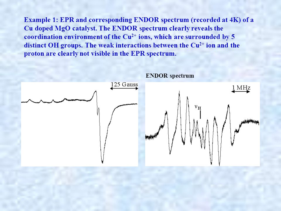 Example 1: EPR and corresponding ENDOR spectrum (recorded at 4K) of a Cu doped MgO catalyst. The ENDOR spectrum clearly reveals the coordination envir