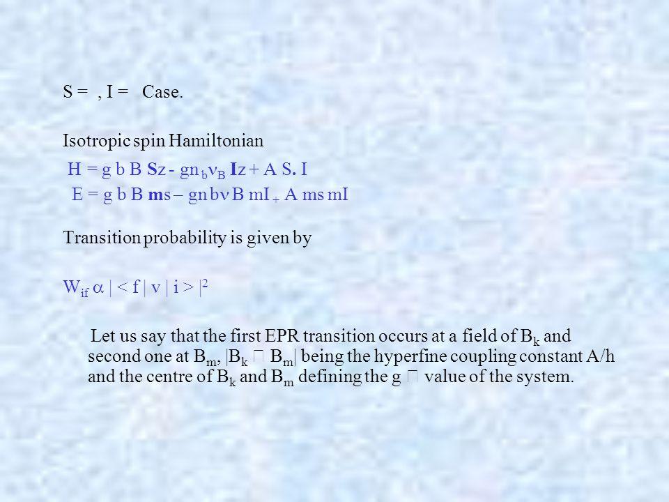 S =, I = Case. Isotropic spin Hamiltonian H = g b  B Sz - gn b B Iz + A S.