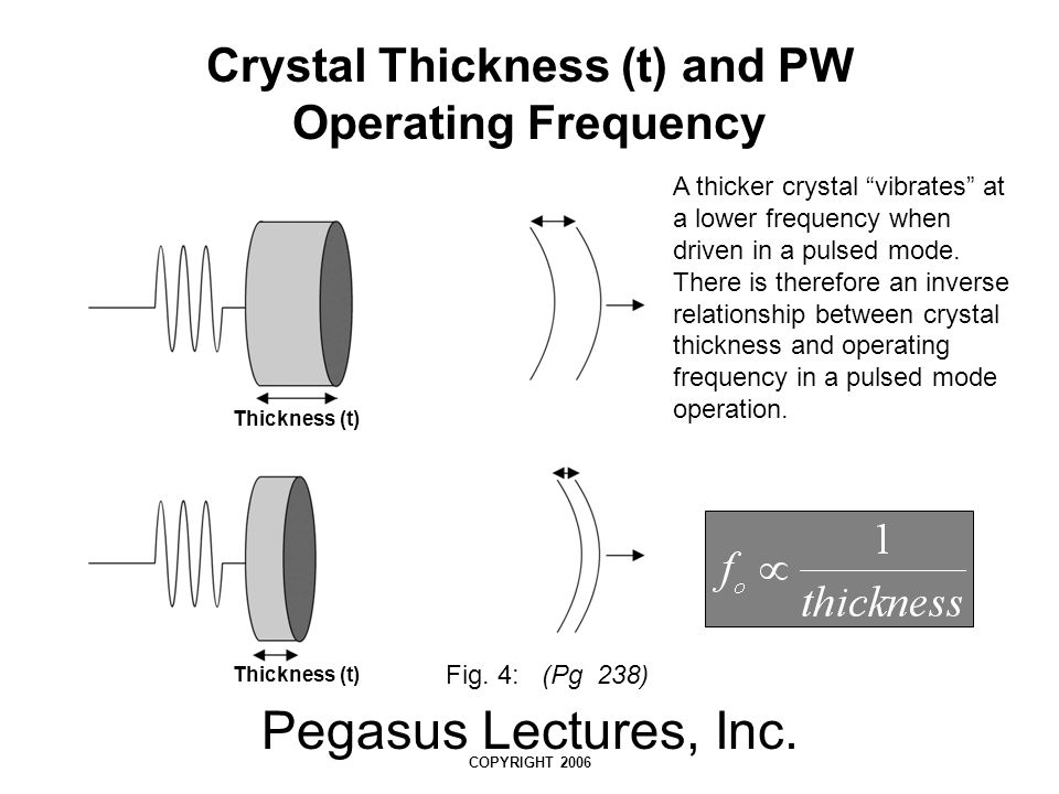 """Pegasus Lectures, Inc. COPYRIGHT 2006 Crystal Thickness (t) and PW Operating Frequency A thicker crystal """"vibrates"""" at a lower frequency when driven i"""