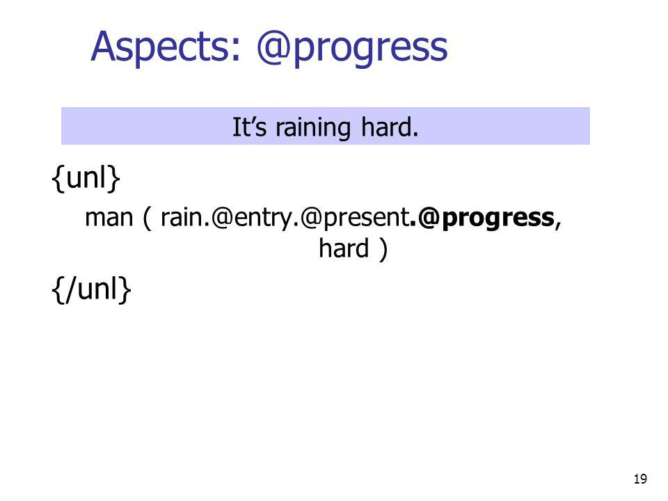 19 Aspects: @progress {unl} man ( rain.@entry.@present.@progress, hard ) {/unl} It's raining hard.