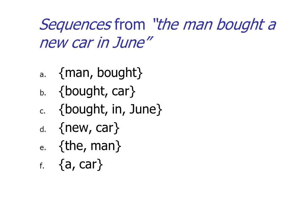 Sequences from the man bought a new car in June a.