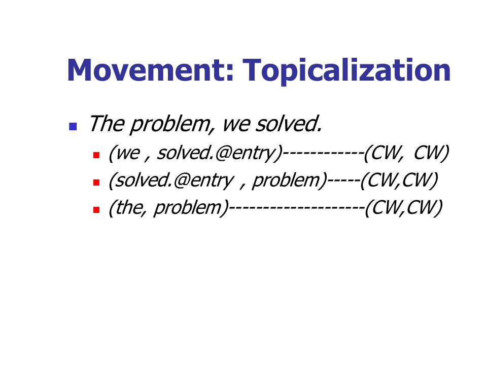 Movement: Topicalization The problem, we solved.