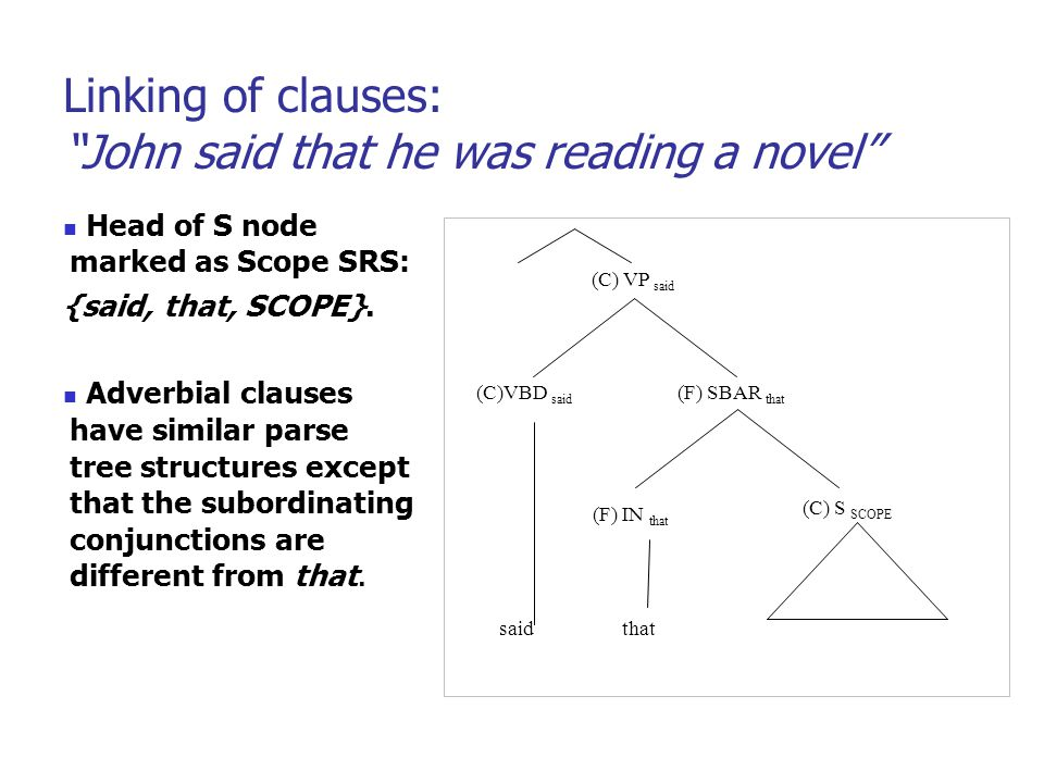 Linking of clauses: John said that he was reading a novel Head of S node marked as Scope SRS: {said, that, SCOPE}.