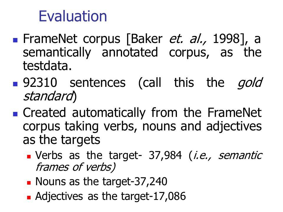 Evaluation FrameNet corpus [Baker et. al., 1998], a semantically annotated corpus, as the testdata.