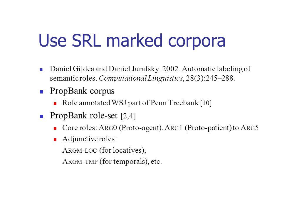 Use SRL marked corpora Daniel Gildea and Daniel Jurafsky.
