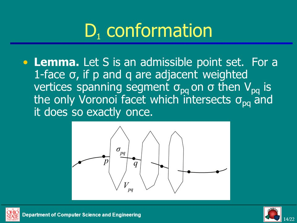 14/22 Department of Computer Science and Engineering D 1 conformation Lemma. Let S is an admissible point set. For a 1-face σ, if p and q are adjacent