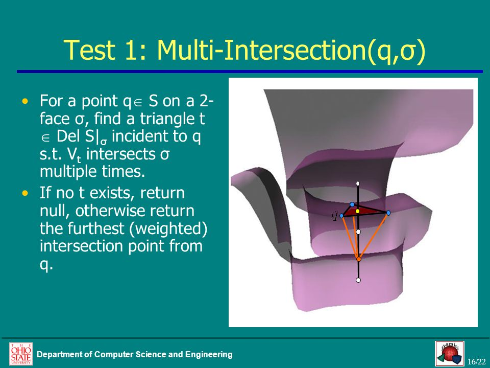 16/22 Department of Computer Science and Engineering Test 1: Multi-Intersection(q,σ) For a point q  S on a 2- face σ, find a triangle t  Del S| σ incident to q s.t.