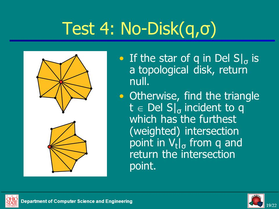 19/22 Department of Computer Science and Engineering Test 4: No-Disk(q,σ) If the star of q in Del S| σ is a topological disk, return null.