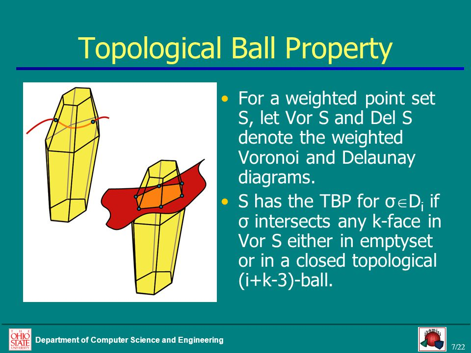 7/22 Department of Computer Science and Engineering Topological Ball Property For a weighted point set S, let Vor S and Del S denote the weighted Voronoi and Delaunay diagrams.