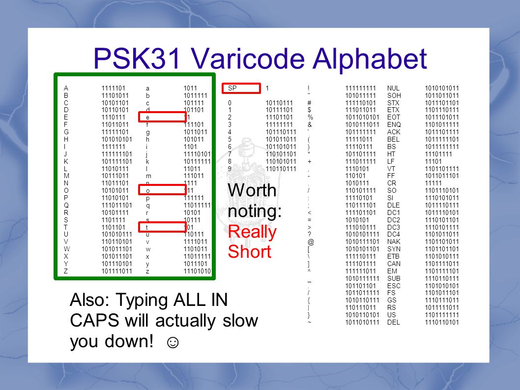 PSK31 Encoding A 0 is sent as a 180º phase shift A 1 is sent as no phase shift 0110000011000 The alphabet is then designed to make sure that commonly-sent characters are made up of a small sequence of 1s and 0s, rare characters are longer (a little like CW) There are never too many long strings of 1s (difficult to tell how many 1s belong on a long carrier with no phase changes to sync off).