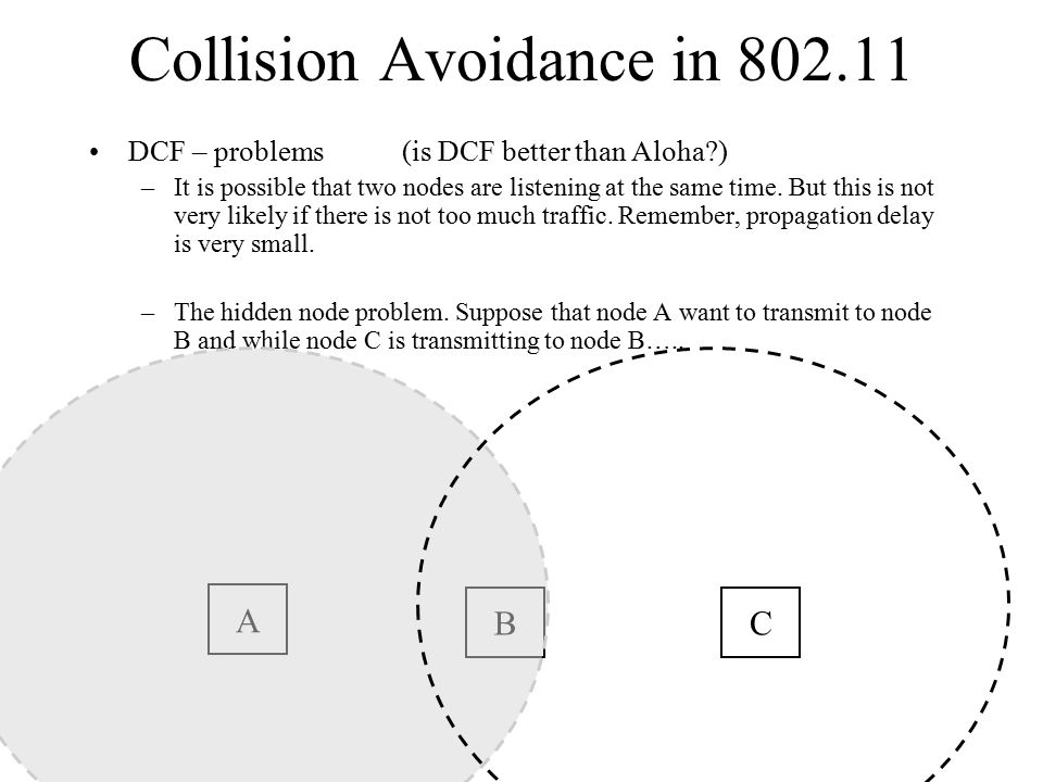 Collision Avoidance in 802.11 DCF – problems(is DCF better than Aloha ) –It is possible that two nodes are listening at the same time.