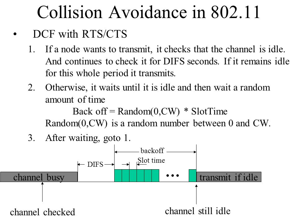 Collision Avoidance in 802.11 DCF with RTS/CTS 1.If a node wants to transmit, it checks that the channel is idle.