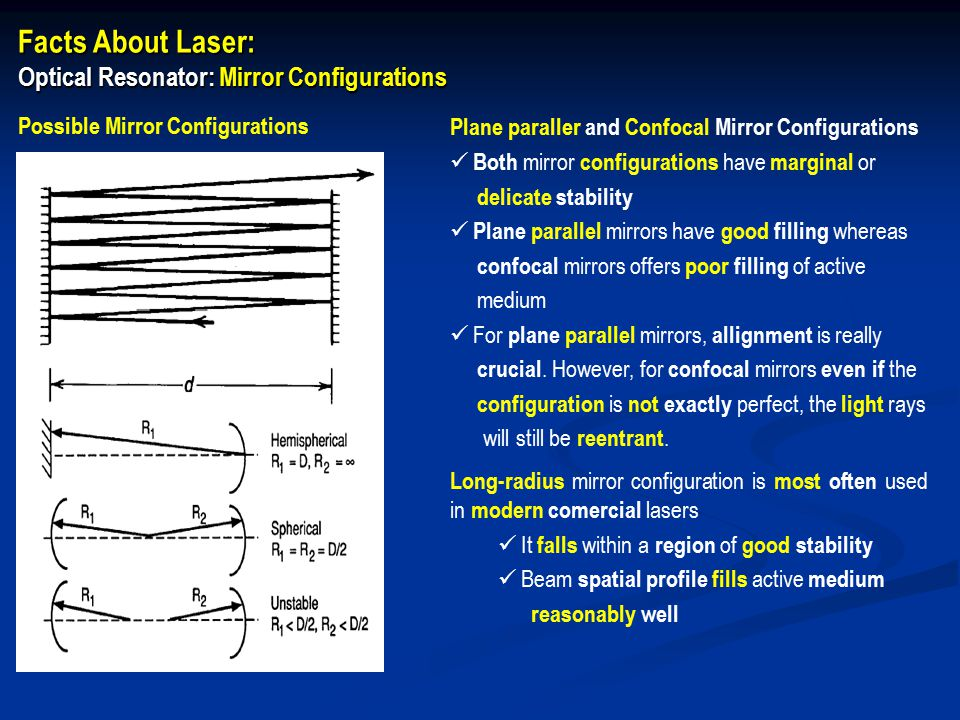 Facts About Laser: Optical Resonator: Mirror Configurations Plane paraller and Confocal Mirror Configurations Both mirror configurations have marginal or delicate stability Plane parallel mirrors have good filling whereas confocal mirrors offers poor filling of active medium For plane parallel mirrors, allignment is really crucial.