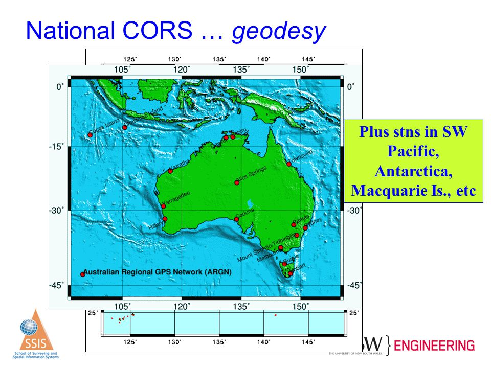 National CORS … geodesy Plus stns in SW Pacific, Antarctica, Macquarie Is., etc