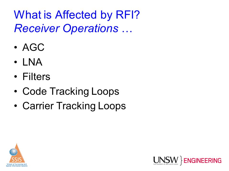 What is Affected by RFI? Receiver Operations … AGC LNA Filters Code Tracking Loops Carrier Tracking Loops