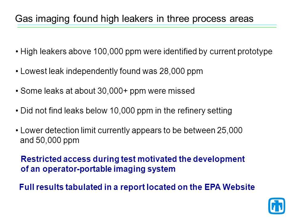 High leakers above 100,000 ppm were identified by current prototype Lowest leak independently found was 28,000 ppm Some leaks at about 30,000+ ppm were missed Did not find leaks below 10,000 ppm in the refinery setting Lower detection limit currently appears to be between 25,000 and 50,000 ppm Gas imaging found high leakers in three process areas Full results tabulated in a report located on the EPA Website Restricted access during test motivated the development of an operator-portable imaging system