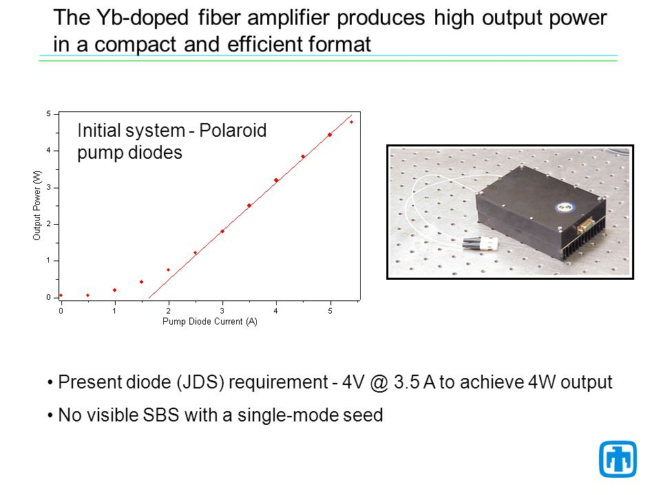 The Yb-doped fiber amplifier produces high output power in a compact and efficient format Present diode (JDS) requirement - 4V @ 3.5 A to achieve 4W output No visible SBS with a single-mode seed Initial system - Polaroid pump diodes