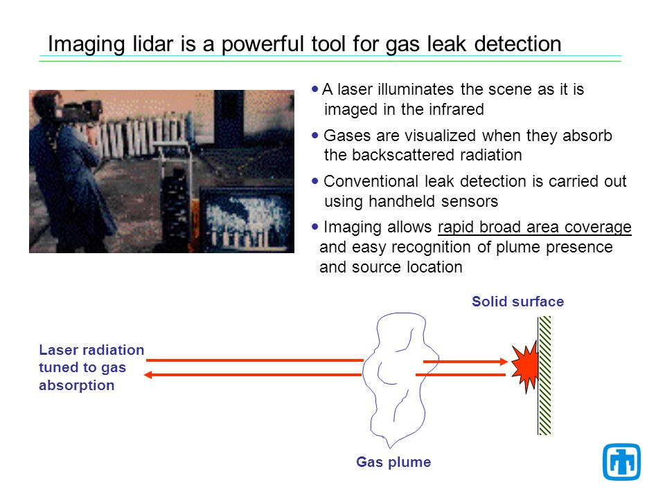 * 7 Refineries (all components and services) Source: API Publication 310, November 1997 Measured Leak Rate Distribution Data * Gas imaging offers to accelerate leak surveillance, thus decreasing the cost of environmental compliance Typical refinery spends ~$1M per year for leak detection and repair (LDAR) Currently hand-held sniffers are used according to EPA Method 21 The technology in this project is now being considered as a viable alternative to Method 21 by a working group of EPA, API, DOE, and petroleum industry members Acceptance will require approval as an alternative work practice - laboratory testing - field evaluations Smart LDAR concept: Rapid surveys focusing on strong leakers